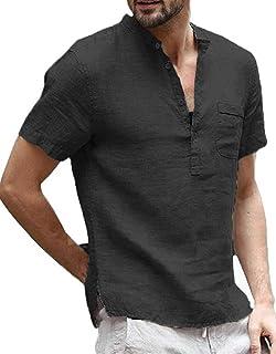 Enjoybuy Mens Linen Henley Shirts Summer Short Sleeve T Shirt Banded Collar Casual Beach Tops