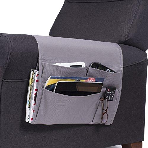 Wallniture Remote Control Holder - Tablet Gadget Caddy Pocket Organizer for Sofa Armchair - Bedside Loft Bed Storage (Gray)