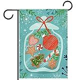 Bandiera da giardino 28 x 40 pollici Design della cartolina d'auguri di Natale con biscott...