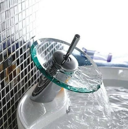 Generic Waschbecken Mixer Wasserhahn Glas Wasserfall Badezimmer Chrome Messing Hebel Wasserhahn < 1& 1485* 6>