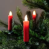 Lights4fun, Inc. Pack of 20 Red Wax Battery Operated Remote Control LED Flameless Christmas Candles with Tree Clips