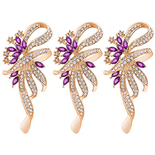 Mecool Crystal Fancy Vintage Style Broche para Mujeres, niñas, Damas, Purple Color-3 Pcs
