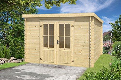 *Gartenhaus G132 – 28 mm Blockbohlenhaus, Grundfläche: 6,70 m², Pultdach*