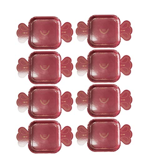 Amosfun vajilla de boda papel desechable vajilla fiesta plato de papel con forma de caramelo de diamante para propuesta compromiso compromiso fiesta de san valentín 8 piezas (estilo 4)