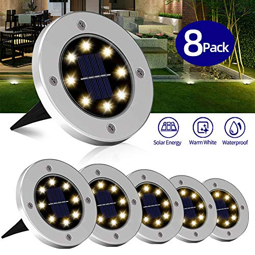 Greenke Solar Ground Lights Outdoor Decors, Disk Lights Solar Powered 8 LED, Waterproof Outdoor in-ground Solar Lamp Landscape for Yard Lawn Walkway Steps Decks Decorations (Warm White) - 8 Pack