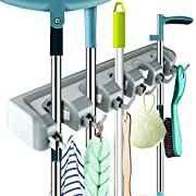 KAMLYNN Plastic Mop and Broom Holder, Multipurpose Wall Mounted Organizer Storage Hooks, Ideal Broom Hanger for Kitchen Garden and Garage (5 Position 6 Hooks)