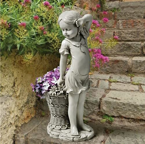 WQF Estatua de jardín de niña de Las Flores, Escultura de estatuilla de niño, Maceta, Cesta, césped, Adorno de jardín de Resina, decoración de Patio al Aire Libre, decoración de jardín de 1