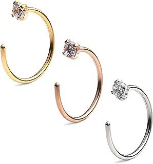 Ruifan 2.5mm Clear Diamond CZ Stainless Steel Body Jewelry Piercing Earrings Nose Hoop Ring Unisex 20 Gauge 8mm 10mm