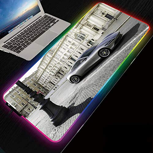 Silver Grey Sports Car RGB Gaming Mouse Pads Led 14 Light Modes Keyboard Mat for Gamer 800x300x4 mm