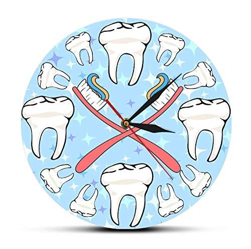 Reloj De Pared De Dientes De Dentista Silencioso Barrido Decoración De Arte De Salud Oral Para Oficina Dental Cepillo De Dientes De Dibujos Animados Reloj De Pared Sala De Estar-Sin Marco