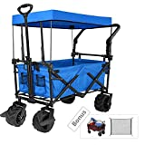 """Tintonlife Push and Pull Collapsible Utility Wagon, Heavy Duty Folding Wagon Cart with Removable Canopy&Brakes, 7"""" All-Terrain Wheels, Adjustable Cart Handles for Shopping, Picnic, Beach, Camping Blue"""