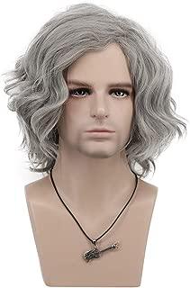 VGbeaty Adult Men Short Bob Curly Gray Wig Halloween Cosplay Anime Costume Party Wig