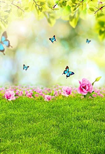Fondo de fotografía de Primavera Hierba de Pascua Bosque de Hadas Foto de Vinilo Fondo de Estudio fotográfico Accesorios de fotografía A6 7x5ft / 2,1x1,5 m