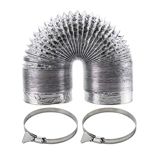 Funmit Flexible Dryer Vent Duct Hose Kit (4 in Diameter by 10 ft Length) - Includes 2 Stainless Steel Worm Clamp, Silver