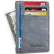 Travelambo Front Pocket Minimalist Leather Slim Wallet RFID Blocking Medium Size (OD Blue VT)