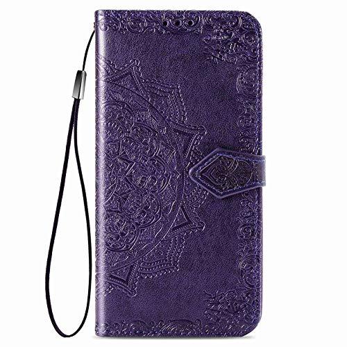 GOGME Hülle für OnePlus 9 Pro 5G Hülle, Mandala Geprägtem PU/TPU Leder Magnetische Filp Handyhülle mit Kartensteckplätzen/Standfunktion, [Anti-Rutsch Abriebfest] Schutzhülle. Lila