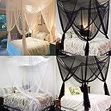 JYCRA Moskitonetz für Doppelbett, rechteckig, einfarbig, Betthimmel, Betthimmel mit 4 Öffnungen, einfache Installation, Polyester, Schwarz , 190cm x 210cm x 240cm - 2