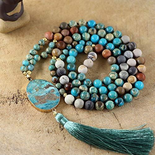 YANGYANG Moda Piedra Natural 108 Beadsnecklace Mujeres Regalo Femenino Ocean Stone Colgante Collar-Default