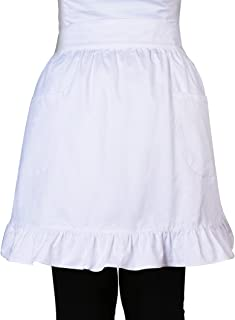 Love Potato 100% Cotton 2 Pockets Waist Apron Kitchen Cooking Restaurant Bistro Half Aprons for Girl Woman, White