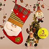 Adornos Navidad, Decoracion Navideña para Árbol con Media de Navidad, Colgante de Papá Noel, Tarro de Caramelos con Muñequito de Elk para Navidad Fiesta Casa Mesa Ventana (Juego de 3pcs)
