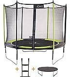 Kangui - Trampoline de Jardin 305 cm + Filet de sécurité + échelle + bâche de Protection JUMPI Vert/Noir 300