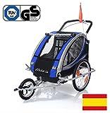 ebikeCo Remolque de Bicicleta Aluminio 7 Confort, suspensión, Rueda 360º Azul