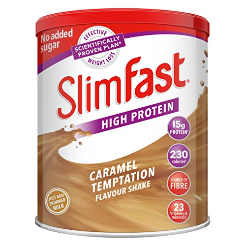SlimFast High Protein Meal Replacement Caramel Temptation Shake Powder, 438 g,