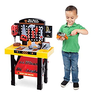 Big Boy's Work Shop 54 Piece Pretend Play Tool Bench Playset