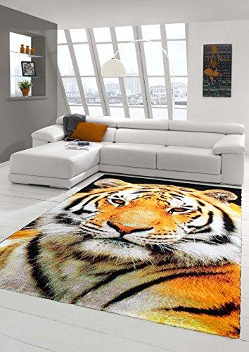 Traum Teppich Designerteppich Moderner Teppich Wohnzimmerteppich Tiger Orange Creme Schwarz, Größe 60x110 cm