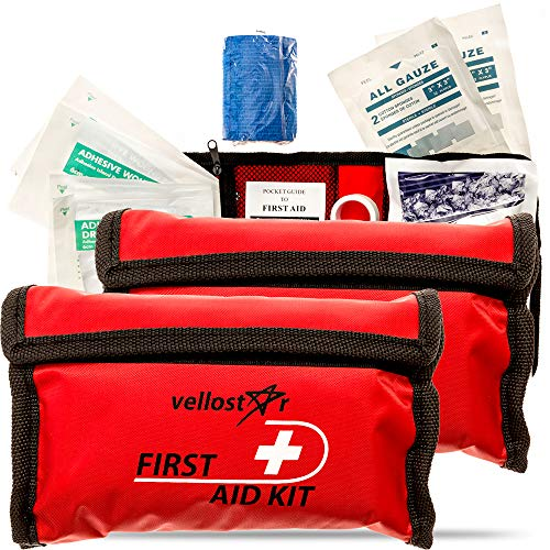 VelloStar First AID KIT - Stay Safe w/This Survival & Medical Essentials for Emergency Situations at Home, Office, Car, Hiking, Hunting, Camping, Travel & School, Small Mini Aid Kits (Red-2, 2-Pack)