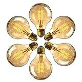 Edison Vintage Glühbirne, Massway e27 G80 40W Warmweiss Dimmbar Antike Filament Glühlampe, Ideal für Nostalgie und Retro Beleuchtung im Haus Café Bar - 6 Stück