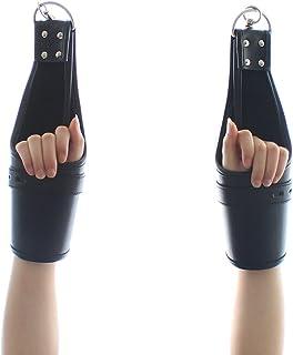 Leather Tied Hand Hanging Door Hangman Black red Lock Leather Handcuffs