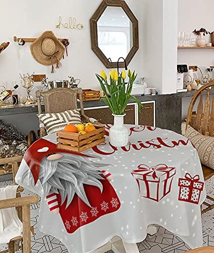 Mantel cuadrado de 137 x 137 cm, mantel de arpillera para cocina, comedor, decoración de mesa, gnomo de copo de nieve con muchos regalos en gris a prueba de polvo para fiestas de vacaciones