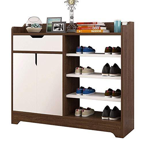 Equipo para el hogar Zapateros Gabinete para zapatos Entrada moderna y sencilla Vestíbulo Ensamblaje de madera de imitación Ahorro de espacio Ahorro de espacio Fácil de ensamblar (Color: Marrón Tam