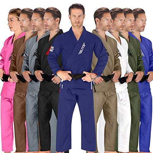 Elite Sports BJJ GI für Herren IBJJF Kimono BJJ Jiujitsu GIS mit sanforisiertem Stoff und gratis Gürtel (siehe spezielle Größentabelle) (Premium Navy, 5)