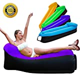 HAKE Inflatable Lounger Chair with Carry Bag,Portable Air Chair for Indoor and Outdoor Use - Ideal for Backyard,Camping,Fishing,Picnics and Music Festivals (Purple Sofa)