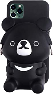 UnnFiko 3D Cartoon Pocket Case for iPhone 7/8 3D, Cute Black Bear Purse Stand Holder, Squishy Soft Silicone Protective Phone Case for Girls Women (iPhone 7/8)