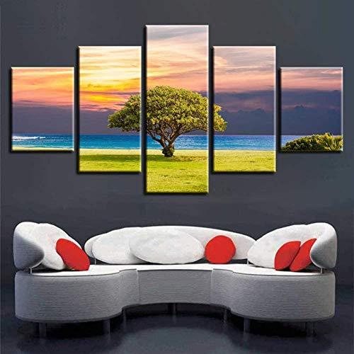 bnkrtopsu Piezas Cuadro de Lienzo de 5 Sala de Estar Dormitorio Creativo murales Decorativos y Carteles Paisaje Natural de Puesta de Sol de árbol Verde