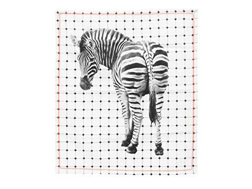 Present Time PT3135 Torchon Tiles Zebra, Coton, Blanc/Noir, 55 x 65 cm
