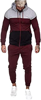 Mens Autumn Winter Long Sleeve Patchwork Hoodies Sweatshirt + Tracksuit Long Pants 2Pcs Sets Sport Suit Tracksuit