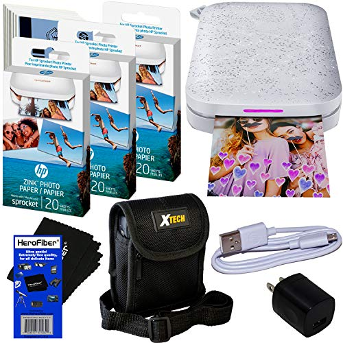 HP Sprocket Portable Photo Printer (2nd Edition) for iPhone or Android [Luna Pearl] + Photo Paper (70 pack) + Protective Case + USB Cable w/Wall Adapter for HP Sprocket Printer + HeroFiber Cloth