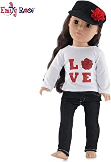 18 Inch Doll Clothes | Black Stretch Skinny Jeans Outfit, Including Long Sleeved T-Shirt with Love Rose Graphic and Denim Hat | Fits American Girl Dolls