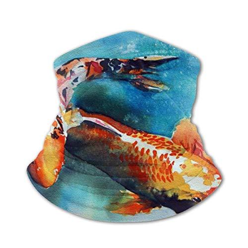 BINLAN Multifunktionaler Schal Kids Neck Warmer Bandana Bunte Karpfenfisch-Tapete Kindervielfalt Gesichtstuch Sturmhaubenschal mit Innentasche Schwarz