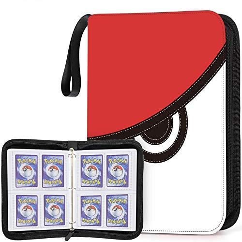 400 Pockets Trading Card Sleeves Binder Compatible with Pokemon Cards, Zipper Binder Card Holder Fit for Pokemon Card Baseball Card Binder with Sleeves