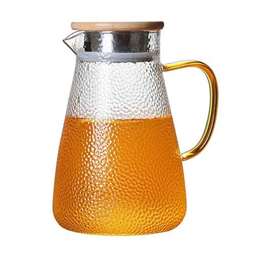 Jarra de agua de cristal de 1 litro, con tapa, para té frío y caliente