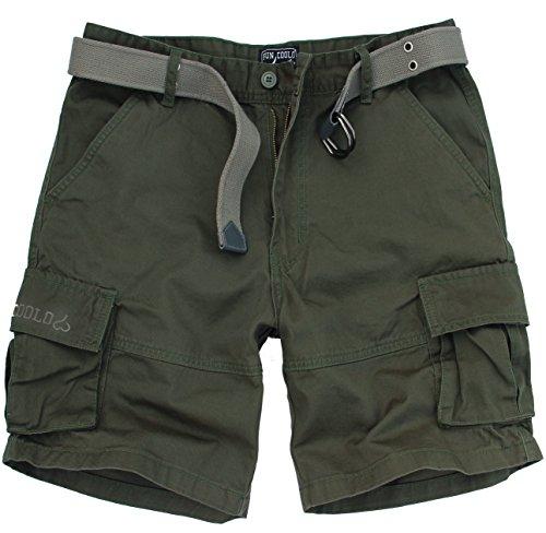 Fun Coolo Pantaloncini Corti Bermuda Cargo Short con tasconi Laterali, con Cintura Verde XL 52