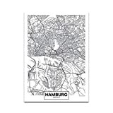 Schwarz Weiß Wort Poster Stadtplan Hamburg Print Leinwand Malerei Wandbild für Living Home Decor-30 * 40cm_no_Frame