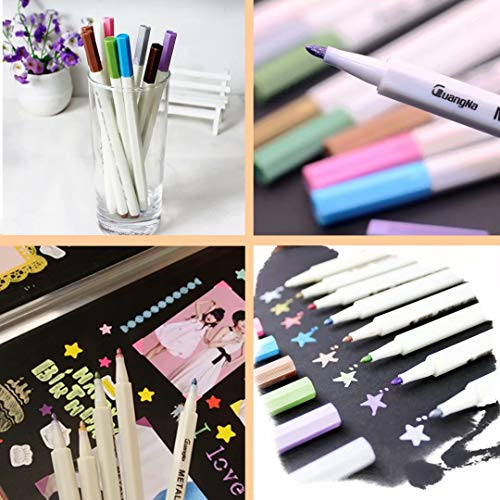 Premium Metallic Marker Pens, Set of 12 Assorted Colors for Adult Coloring Books, Art Rock Painting, Card Making, Metal and Ceramics, Glass - Fine Tip