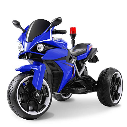 BABLE 12V Electric Motorcycle for Kids, Kids Ride On Motorcycle, 3 Wheels Battery Powered Ride On Toy, Kids Ride On Electric Trike Motorcycle with USB Music Player, for 3-8 Year Boy Girl, Blue
