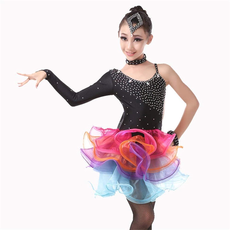 ドレスプリンセスコスチューム ラテンダンス衣装コスチューム体操ダンスウェアパフォーマンスコンペティション社交ダンスドレス 肌にやさしい通気性 (色 : ブラック, サイズ : 150)